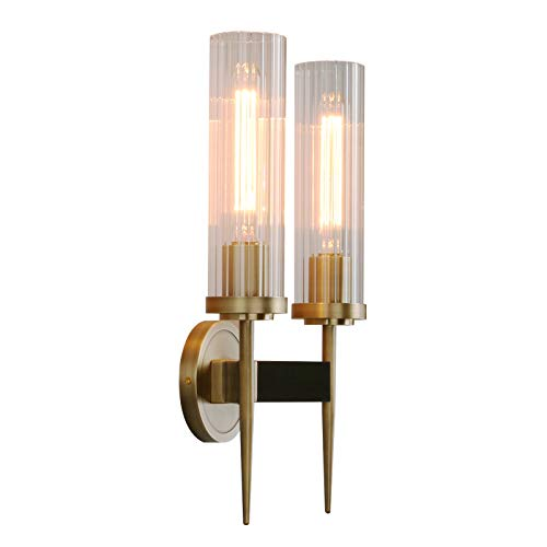 Phansthy Antique Bronze 2 Lights Sconce Bathroom Vanity Lights with Dual 2.8