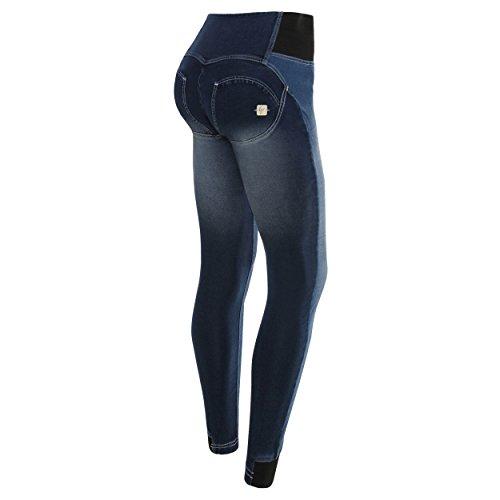 Freddy Mujer wrup1zha05e moldeador efecto Talle Alto PERMANENTE Arrugado Vaqueros pantalón Ceñido - azul marino