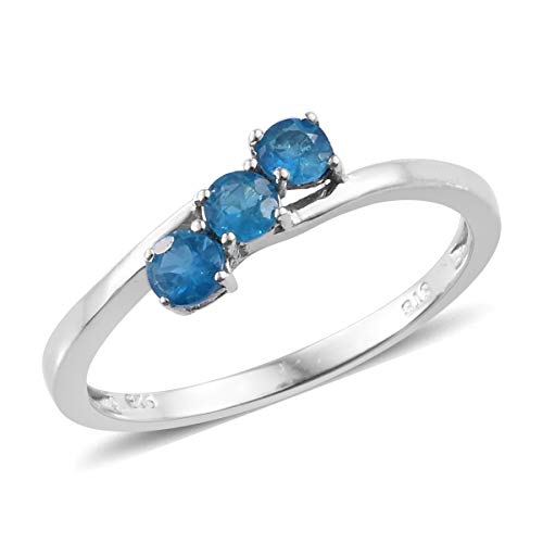 Trilogy Ring 925 Sterling Silver Platinum Plated Round Neon Apatite Gift Jewelry for Women Size 7 Cttw 0.4 ()