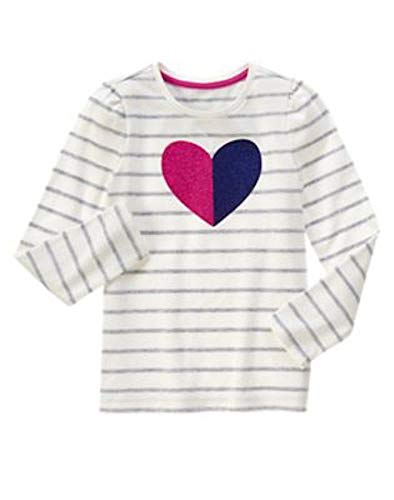 (Gymboree Girls' Long-Sleeve Striped with Graphic Heart Tee, 4)