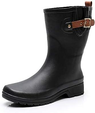 Womens Ladies Winter Warm Mid Calf Snow Boots Wellies Wellington Riding Shoes SZ