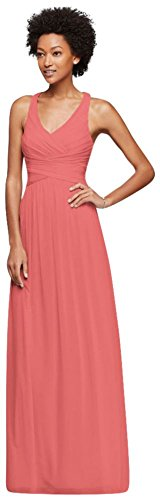 Mesh Long Bridesmaid Dress With Crisscross Back Style W10974  Coral Reef  28