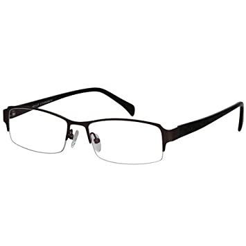 fdcc0eca52 Image Unavailable. Image not available for. Color  EyeBuyExpress Bifocal Men  Brown Rectangle Half Rim Regular Hinge Eyewear Reading Glasses