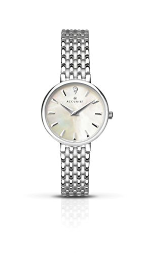 Accurist Ladies Analogue Watch With White Mother of Pearl Dial And Silver Bracelet 8153
