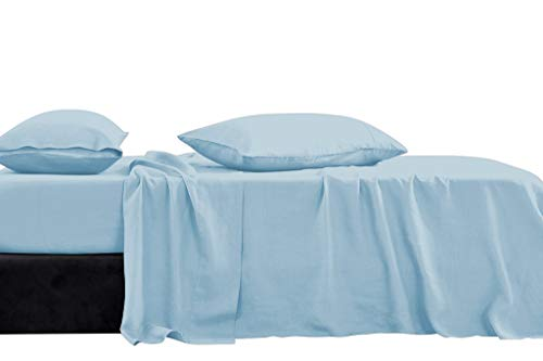 Luxury Hotel Collection Brushed Microfiber 1800 Series Road Ready Full XL/RV Short Queen Sheets Set with 15 Inch Deep Pocket (Solid Light Blue) Microfiber Bed Sheets Set for RV, Camper, Motorhomes