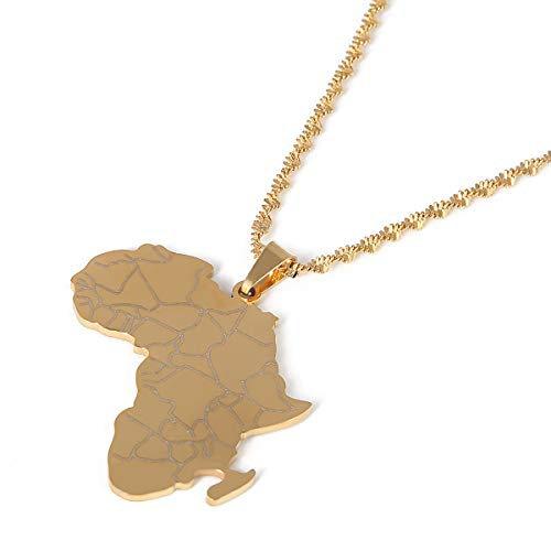 - Africa Map Flag Pendant Chain African Maps Jewelry with Country Flags (Gold 9)