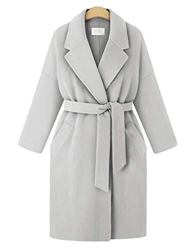 Sottile Invernali Windbreaker Festivo Tempo Libero Giubbino Cappotti Grau Elegante Giaccone Donna Cintura Lunga Cappotto Trench Inclusa Classico Autunno Caldo Costume wYXzPq