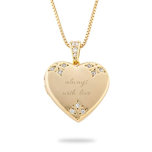 - Things Remembered Personalized Gold Tone Pave Heart Locket with Engraving Included