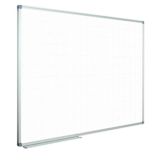 - JILoffice Magnetic Dry Erase Planning Board, Grid White Board 48 x 36 Inch, Silver Aluminium Frame with Detachable Marker Tray for Office School and Home