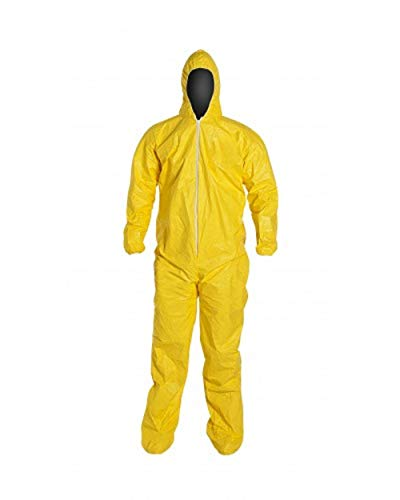 DuPont Tychem 2000 QC127S Disposable Chemical Resistant Coverall with Hood, Elastic Cuff and Serged Seams, Yellow 7XL (Retail Pack of 1)