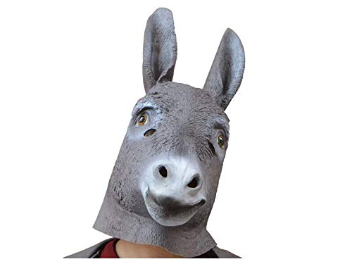 Yuchoi Funny Funny Donkey Mask Head Cover Halloween Tricky Animal Mask Masquerade (Grey)