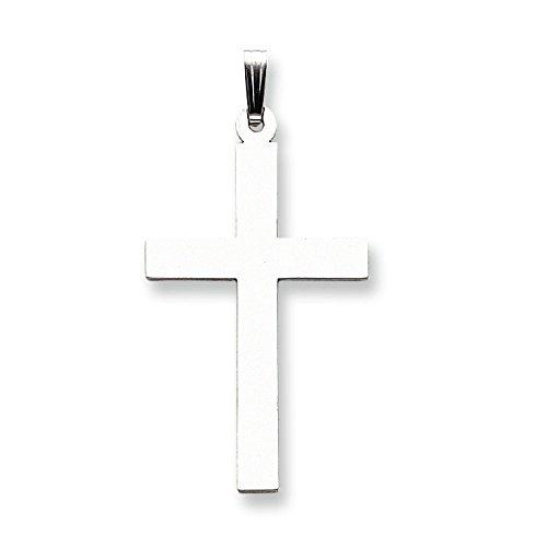 Pendentif Croix Or Blanc Poli 14carats-Mesure 25,3x 49.8mm