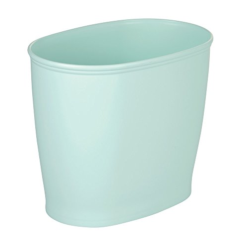 InterDesign Kent Oval Wastebasket Trash Can for Bathroom, Kitchen, Office - Mint Green
