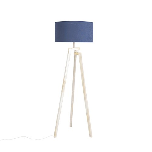 QAZQA Design Modern Floor Lamp Tripod White Wood with Blue