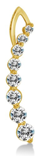 Solid 14K Yellow Gold Dangle Highest Quality Round Shape Brilliant Cut CZ Cubic Zirconia Love Journey Ladies Pendant Charm (Height = 1