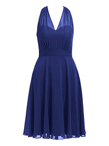 Licol Alicepub Robe De Demoiselle D'honneur V-cou Robes De Soirée De Bal À Court Cocktail Bleu Royal
