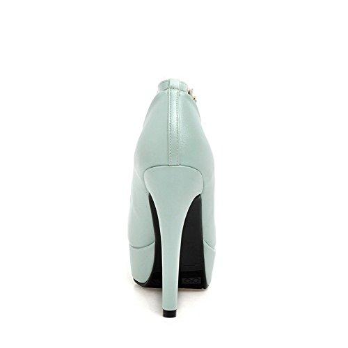 VogueZone009 Damen Schnalle Leder Rund PU Zehe Hoher Absatz Rein Pumps Schuhe Blau