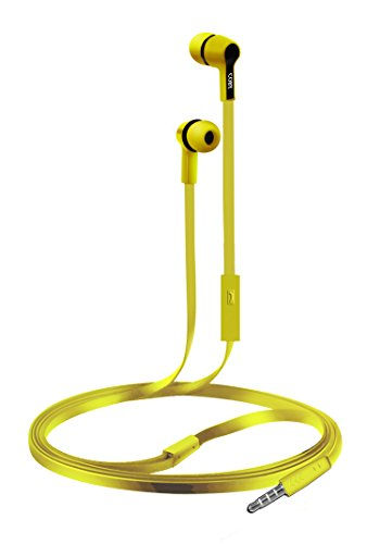 Coby CVE-111-YLW Rush Tangle-Free Flat Cable Stereo Earbuds with Mic, Yellow