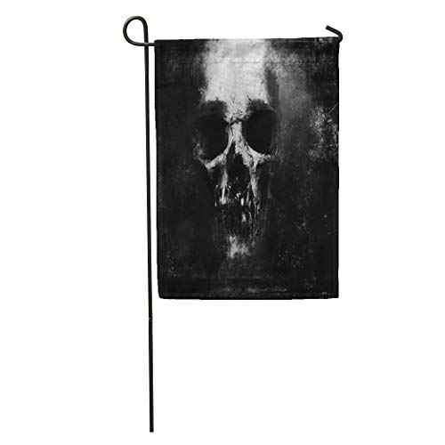 Semtomn Garden Flag Death Scary Skull Halloween Dark Skeleton Evil Retro Face Tattoo Home Yard House Decor Barnner Outdoor Stand 28x40 Inches Flag]()