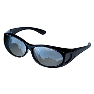 LensCovers Sunglasses Wear Over Prescription Glasses. Size Small with Reflective Lens