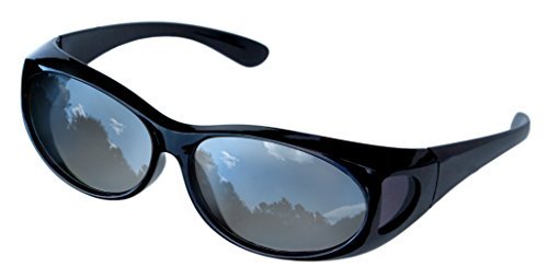 LensCovers Wear Over Sunglasses Small Black Frames with Reflective Lens - Fit Over - Glass Sunset Over