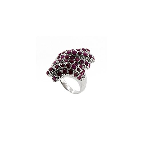 Rare Round African Ruby Crossed Feathers Ring (Resizable) 925 Silver