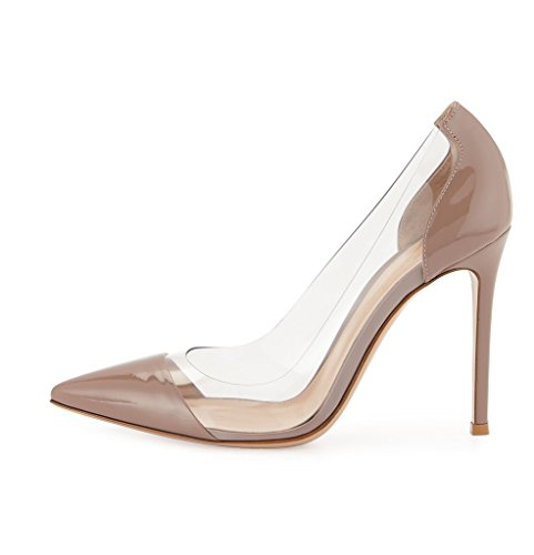 Side Heel Slip Cap Party High Shoes PVC 100mm Nude Pumps On Women's ViViKiKi Pointed Toe Dress qP4RT