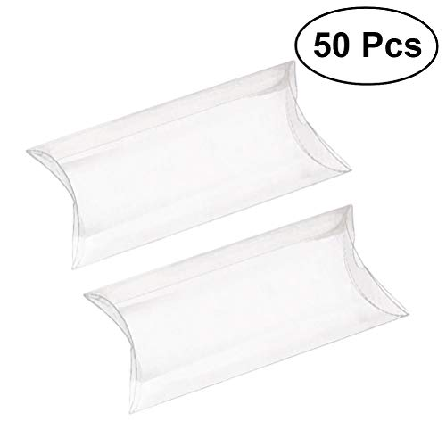 (ULTNICE 50pcs Pillow Gift Boxes Clear Candy Box Transparent Party Favor Boxes Sweet Bags)