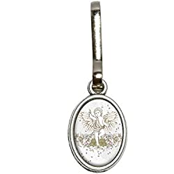 Graphics and More Cherub and Fall Leaves - Angel Vintage Antiqued Oval Charm Clothes Purse Luggage Backpack Zipper Pull