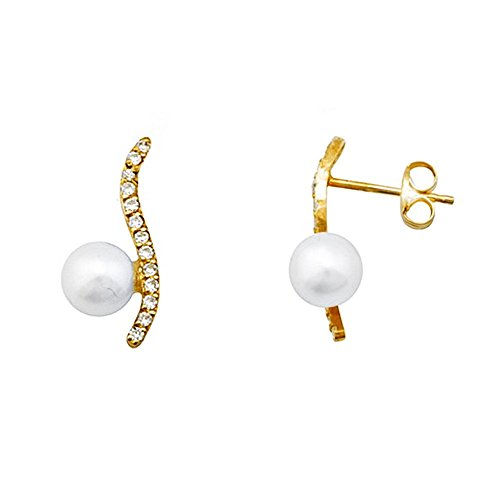 Boucled'oreille 18k perles d'or 5mm. zircons band adulte [AA5720]