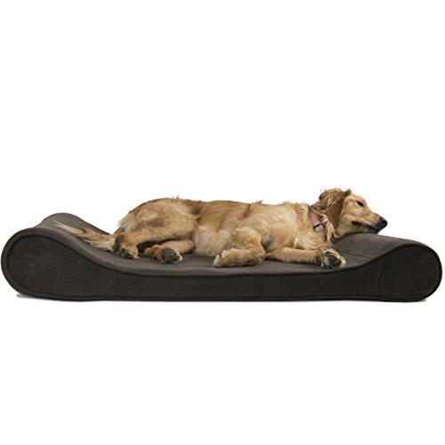 FurHaven 31539391 Micro Velvet Luxe Lounger Pet Bed, Espresso, Jumbo