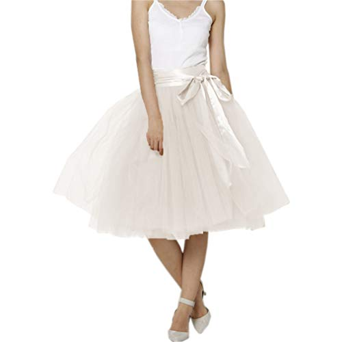 (Lisong Women Knee Length Bowknot Layered Tulle Party Prom Skirt 24W US Ivory-1)