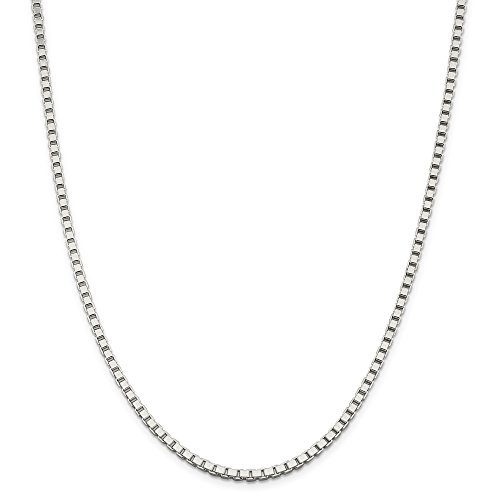 (925 Sterling Silver Rhodium Plated 1.5MM Box Chain Italian Necklace- Lobster Clasp-20