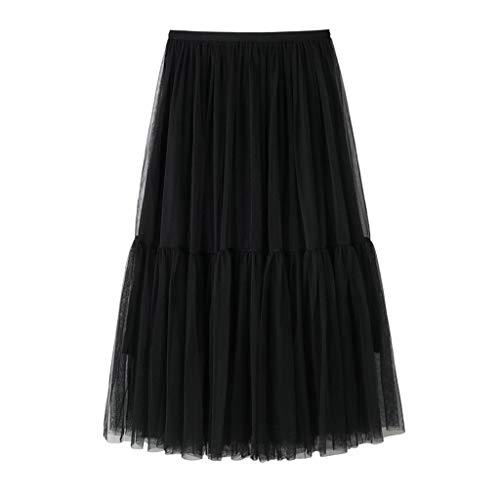 Sunhusing Summer Women's Solid Color Tulle Stitching High Waist Pleated Beading Midi Yarn Skirt Pink