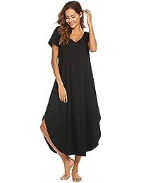 d7d23ab6b Women s Sleepwear Casual V Neck Nightshirt Short Sleeve Long Nightgown S-XXL