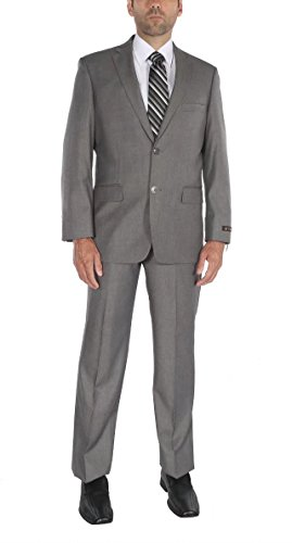 PL Men's Two-Piece Classic Fit Office 2 Button Suit Jacket & Pleated Pants Set New 54l Mens Suit