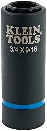 Klein Tools 66001 2-in-1 Impact Socket, Socket Wrench Sizes 3/4-Inch and 9/16-Inch Hex, 12-Point Deep Socket with 1/2-Inch Drive