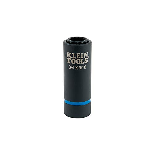 (Klein Tools 66001 2-in-1 Impact Socket, 12-Point, 3/4 and 9/16-Inch )