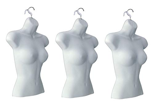 Only Hangers Set of (3) Female Torso Body Mannequin Forms (Waist Long) Great for Small and Medium Sizes, White Finish ()