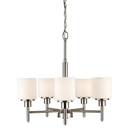 - Design House 556639 Aubrey 5-Light Chandelier, Frosted Glass, Satin Nickel