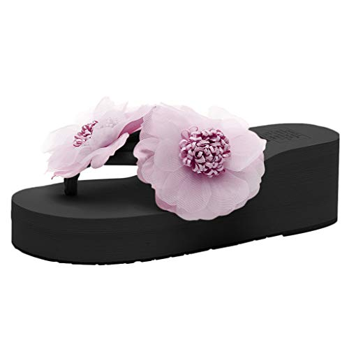 Duseedik Women's Summer Sandals Ladies Flowers Wild Beach Slippers Fashion Wedges Thick Bottom Flip Flops Shoes