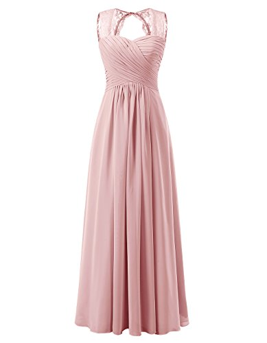 eea461e9914 ALAGIRLS Women s Lace Straps Chiffon Bridesmaid Dresses Long Wedding Party  Gowns TC10095 Blush ...