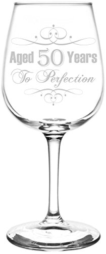 Personalized & Custom (50th) Aged To Perfection Elegant & Vintage Birthday Celebration Inspired - Laser Engraved 12.75oz Libbey All-Purpose Wine Taster - Personalized Drinkware Custom