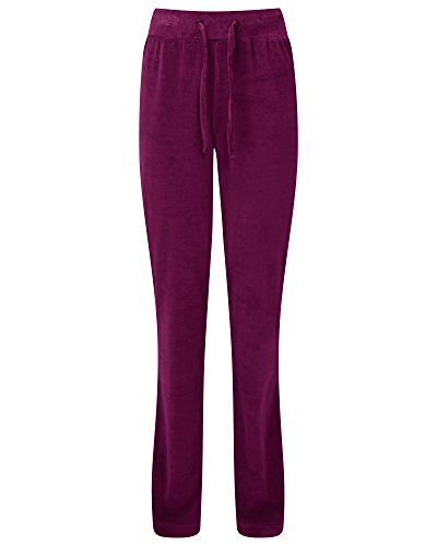 Cotton Traders Womens Ladies Velour Pull On Trousers Pants Leg Length 31'' Size 18 Claret - Long Sleeved Velour Pant