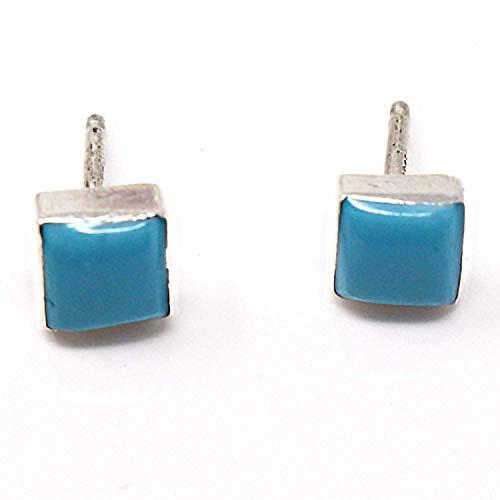 - Zuni Silver Imitation Turquoise Rectangular Earrings | 3/16