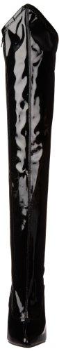 DAGGER-3060, Extrem Overkneestiefel mit Schnürung schwarz Blk Stretch Pat