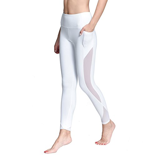 ONGASOFT Yoga Pants for Women Mesh Workout Leggings Winter Yoga Capris(White,XL) - Chinese Export Old