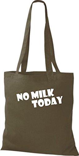 Shirtstown Stoffbeutel lustige Sprüche No Milk Today viele Farben olive