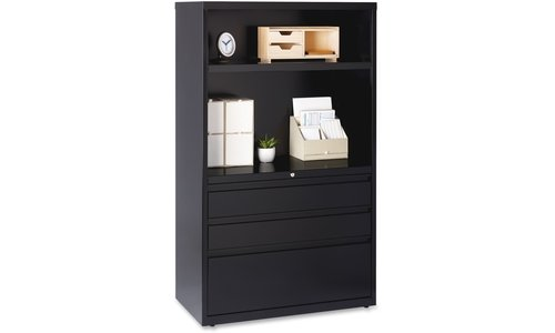 Lorell Lateral File Drawer Combo Unit, 36-Inch, Black