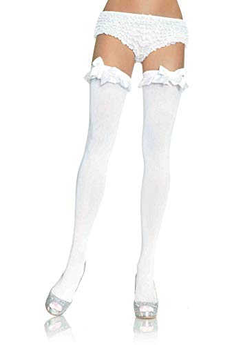 White Opaque Stockings (Leg Avenue Women's Satin Ruffle Trim and Bow Thigh Highs, White, One)